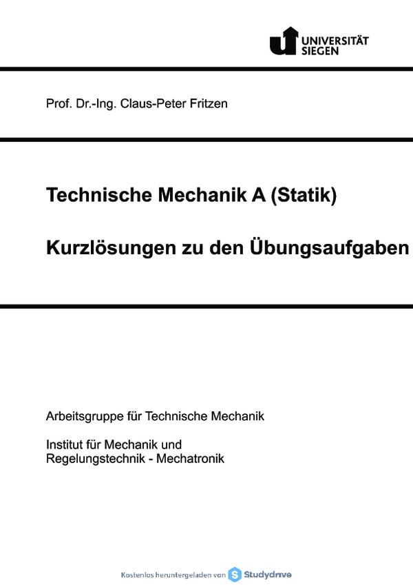 Statik kurzloesungen free download for Statik skript pdf